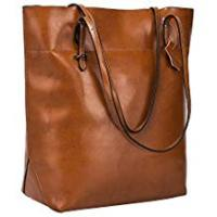 Leather Bags S-ZONE Vintage Genuine Leather Tote Shoulder Bag Handbag Big Large Capacity