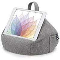 Tablet Bag With Stands iBeani iPad & Tablet Stand/Bean Bag Cushion Holder for All Devices/Any Angle on Any Surface - Herringbone Grey