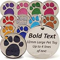 Dog Tags Personalised Engraved 32mm Glitter Paw Print Tag BOLD Contrasting Text, LARGE DOG Pet ID Tags (Light Pink)