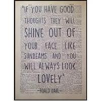 Prints Parksmoonprints Roald Dahl Quote Print Vintage Dictionary Page Wall Art Picture Good Thoughts