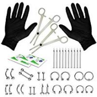 Piercings BodyJ4You 36PCS Professional Piercing Kit Stainless Steel 14G 16G Belly Ring Tongue Tragus Nipple Lip Nose Jewelry