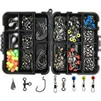 Fishing Jigs 160pcs/box Fishing Accessories Kit, Including Jig Hooks, Bullet Bass Casting Sinker Weights, Different Fishing Swivels Snaps, Sinker Slides, Fishing Line Beads, Fishing Set with Tackle Box