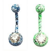 2Pcs Bling Belly Button Ring Stainless Steel Paint Splatter Body Jewelry Piercing Navel Barbell Hypoallergenic - Color 2#