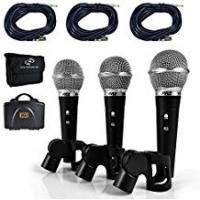 Pyle Vocal Condenser Microphones Pyle Professional Dynamic Microphone Kit - 3 Microphones Included - Vocal Microphone - Cardioid Unidirectional Handheld Mic - XLR Connection (Includes XLR Audio Cables) (PDMICKT34)