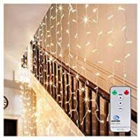 Christmas Decorations Ollny LED Window Curtain String Lights Icicle Fairy Decorative Lights for Wedding Xmas Christmas Outdoor Home Party Garden Decorations with Remote & Timer Warm White Lights 306 LEDs 3m*3m(Low Voltage)
