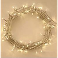 Christmas Lights ANSIO 100 LED Warm White Tree Indoor and Outdoor use Christmas String Memory Function, Mains Powered Fairy Lights 10m/33ft Lit Length Clear Cable