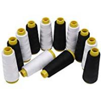 Sewing Threads for Quilting, Sewing, and Embroidery Kurtzy Polyester Thread/Machine sewing thread - White and black thread 12 Pcs – Total 12,000 Yards Overlocking Thread – Ideal for Machine Sewing, Quilting, and Embroidery