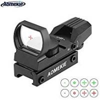 Red Dot Sights Aomekie Red Dot Sight Scope Tactical 4 Reticles Green & Red Air Rifle Scope with 20mm/22mm Weaver/Picatinny Rail Mount and Cover for Hunting Crossbow