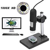 Aomekie Digital 1000X Microscope with 8 Led Lights and Rise and Fall Holder Handheld Multi-Function Electronic Magnifier USB Connect computer and camera