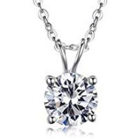 Diamond Necklaces Kaletine Round Cubic Zirconia Solitaire Pendant Necklace Sterling Silver 925 Fake Diamond CZ Cable Chain 16