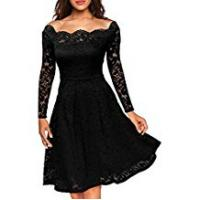MIUSOL Women's Off Shoulder Short Sleeve Lace Evening Dress