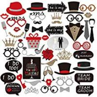 Weddings PBPBOX Wedding Photo Booth Props for Wedding Party Decoration - 54 pcs