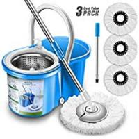 Mops [Sponsored]Aootek New Upgraded Stainless Steel Deluxe 360 Spin Bucket Floor Cleaning System Included Easypress Handle with 2 Microfiber Mop Heads, Medium