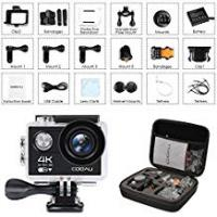 Motorcycle Accessories [Sponsored]COOAU Action Camera 4K Ultra HD 12MP 2.0 Inch LCD Screen 170° Wide Angle Lens 180° Screen Rotation Wi-Fi Sport Camera Underwater Waterproof 30M + 1050mAh Rechargeble Battery + Portable Package Case with 20 Accessories (BLACK)