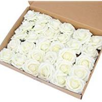 Roses Artificial Flower Rose,Marry Acting 30pcs Ivory Real Touch Artificial Roses for DIY Bouquets Wedding Party Baby Shower Home Decor