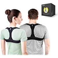 Woman [Sponsored]Modetro Sports Posture Corrector Spinal Support - Physical Therapy Posture Brace for Men or Women - Back, Shoulder, and Neck Pain Relief - Spinal Cord Posture Support Black Medium (M) 39 - 45 in