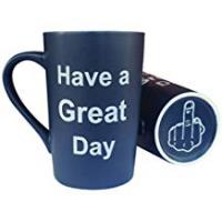 Gags This Might be Wine Funny Christmas Gifts Middle Finger Mug - Coffee Mug Have a Great Day with Middle Finger on The Bottom Funny Ceramic Cup Blue, Best Office Cup & Birthday Gag Gifts, 13 Oz