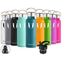 Water Bottle Thermos Super Sparrow Stainless Steel Vacuum Insulated Water Bottle - Double Wall Design - Standard Mouth - 500ml & 750ml & 1000ml - Non-Toxic BPA Free - Ideal as Sports Bottle - 2 Lids