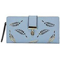 Purses Tuopuda Women's Wallet Hollow Leaf Pattern Bifold Leather Lady Long Wallet Purse Coin Button Clutch Bag