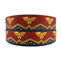 Gift-hero Gifts For Women Birthdays 2m x 22mm WONDER WOMAN SUPER HERO GROSGRAIN RIBBON FOR CAKE'S BIRTHDAY CAKES GIFT WRAP WRAPPING RIBBON CRAFT