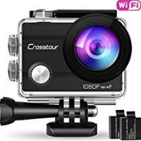"Cameras Crosstour Wifi Action Camera Full HD 1080P Waterproof Cam 2"" LCD Screen 98ft Underwater 170° Wide-angle Sports Camera with 2 Rechargeable 1050mAh Batteries and 20 Mounting Accessory Kits"