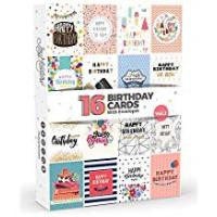Greeting Cards [Sponsored]16 x Birthday Cards by Joy Masters™ Vol.2 | Multipack with ENVELOPES | Large Set for Men & Woman