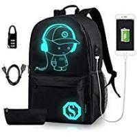 Animes Luminous School Backpack - Horsky Anime Luminous Shoulder Bag Lightweight with Laptop Compartments for Students Teens Boy Girl Book Laptop Travel Camping 35 L