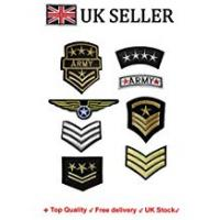 Patch Military SET of 8 Iron on / Sew On Army Embroidered Patch Applique military Embroidery Motif officer transfer