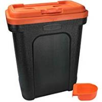 Dog Food Containers for Keeping Dry Food Fresh Pet Food Storage Container Dry Dog Cat Food Bird Seed Storage Box Bin Flip Top Locking System With Integrated Scoop - Orange - Large