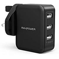 Charger Usbs [Sponsored]Wall Charger, RAVPower 30W Fast Chargers 6A 3-Port Mains USB Charger Plug Power Adapters with iSmart 2.0 for iPhone XS/XR/XS Max/8/8 Plus, Galaxy, iPad and More – Black