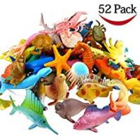 Animals Ocean Sea Animal, 52 Pack Assorted Mini Vinyl Plastic Animal Toy Set, YeoNational Toys Realistic Under The Sea Life Figure Bath Toy for Child Educational Party Cake Cupcake