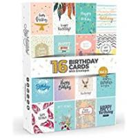 Greeting Cards 16 x Birthday Cards by Joy Masters™ Vol.3 | Boxed Multipack with White Envelopes | Great Value Set for Men & Woman