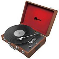 Speaker Cases With Rechargeables UKayed Portable Retro Turntable Vinyl Record Player Leather Brief Case Style 3 Speed Record Player Built-In Speakers Corded or Rechargeable to be Cordless on the Go! (Brown)
