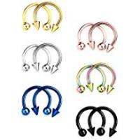 BBTO 12 Pieces Stainless Steel Nose Studs Septum Horseshoe Hoop Stud Piercing Rings for Ear Eyebrow Tragus Lip, Assorted Colors