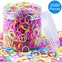 Box Hair Colors EAONE 2000 Pieces Multi-color Rubber Bands Small Candy Color Hair Bands Hair Elastic with Free Box for Baby Girls
