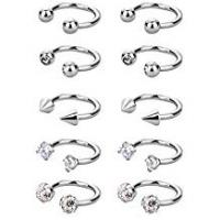 Piercings Sumind 10 Pieces Stainless Steel Horseshoe Hoop Nose Rings Hoop Surgical Body Piercing for Helix Tragus Cartilage Lip Eyebrow, 16 Gauge, 5 Styles