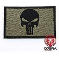 Patch Military Punisher Skull Embroidery Tactical Army Badge Patch Green Black with Hook & loop Airsoft