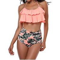 Bikinis TEERFU Womens Swimwear High Waisted Padded Halter Beach Bathing Suits Bikini Set