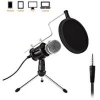 Podcasts PC/Phone Condenser Microphone, Etpark 3.5mm Jack Professional Microphone with Tripod Stand Windscreen for for Podcast, Recording,Online Chatting Facebook, MSN, Skype, YouTube, Games