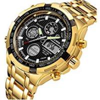 Gold Watches Luxury Fashion Mens Watches Gold Stainless Steel Heavy Sport Chronograph Waterproof Date Alarm Multifunction Analog Digital Watch