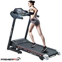 Running Treadmills PremierFit T330 - Motorised Electric Treadmill/Folding Running Machine with 20-Level Automatic Incline - Heart Rate Monitor, AUX/USB/SD Inputs and Speakers - 4.5HP Motor