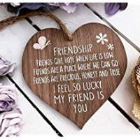 Hearts I'm Lucky My Friend Is You Wooden Hanging Heart Friendship Gift Best Friends Plaque