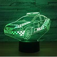 Universal Lighting And Decor Fans Creative USB Power Police Car 3D Touch Optical ILLusion Night Light Stunning Visual Effect 7 Colors Changing Table Desk Deco Lamp Bedroom Children Room Decorative Nightlight Toy Holiday Gifts