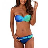 Bikinis Aleumdr Womens Halterneck/Strapless Bandeau Twist Push Up Bikini Set Swimsuit