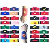 Gift-hero Gifts For Women Birthdays KRUCE 32 Pack Superhero Bracelet for Kids Boys & Girls Superhero Birthday Party Favors,Superhero Felt Bangle,Wristband Accessories Wrist Strap