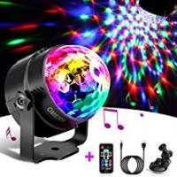 Discos Disco Lights - OMERIL Sound Activated Party Lights with 4M/13ft USB Charging Cable, 3W RGB Disco Ball Light with Remote Control for Kids Birthday, Family Gathering, Christmas Party, Children's Bedroom, Home, Club, Holiday [USB Powered]