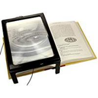 Sightmark Magnifiers A4 Full Page Magnifier Reading Magnifying Glass on Rectangular Stand Hands Free 3x Magnification with 4 LED Lamp Lens for Reading For The Elderly, Seniors and Partially Sighted Persons