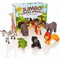 Animals Learning Minds Set of 8 Jumbo Jungle Animal Figures - 18 Months +