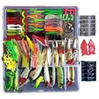 Fishing Jigs [Sponsored]Afishup Fishing Lures Kit Full Fishing Tackle Box Mixed Lots Including Hard Lure Minnow Popper Crankbaits VIB Topwater Diving Floating Lures Soft Plastics Worm Spoons Other Saltwater Freshwater Lures