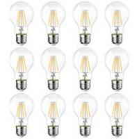 Universal Lighting And Decor Fans E27 LED Filament Bulb, 12 Packs, LVWIT A60 8W 806Lm Warm White 2700K, 60W Replacement, Non-dimmable, Retro Vintage Bulbs